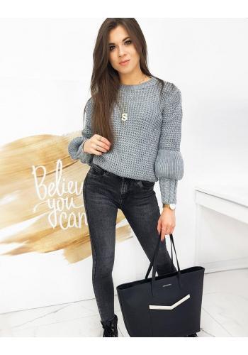Dámský módní svetr s ozdobnými rukávy v tmavě šedé barvě