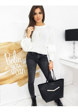 Bílý módní svetr s ozdobnými rukávy pro dámy