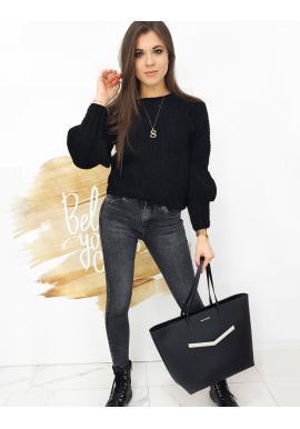 Módní dámský svetr černé barvy s ozdobnými rukávy