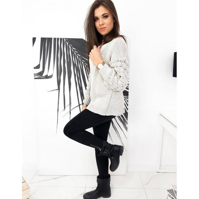 Béžový stylový svetr s ozdobnými rukávy pro dámy