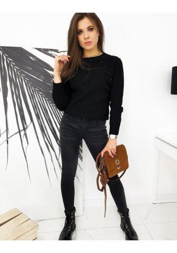 Černý akrylový svetr s aplikací pro dámy