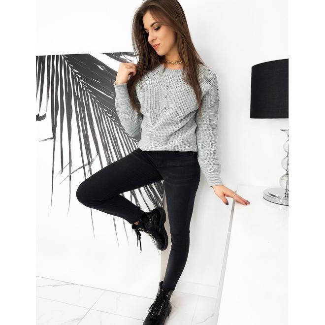 Akrylový dámský svetr šedé barvy s aplikací