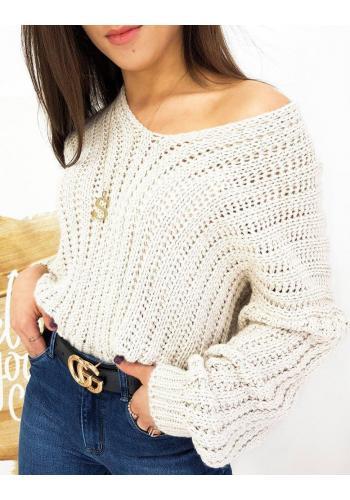 Dámský teplý svetr s véčkovým výstřihem v béžové barvě