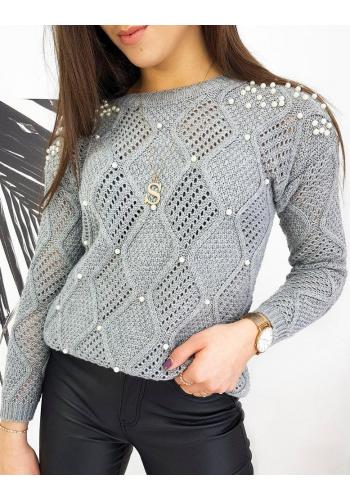 Světle šedý azurový svetr s perlami pro dámy