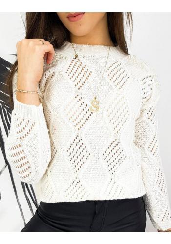 Azurový dámský svetr bílé barvy s perlami