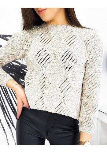 Dámský azurový svetr s perlami v béžové barvě