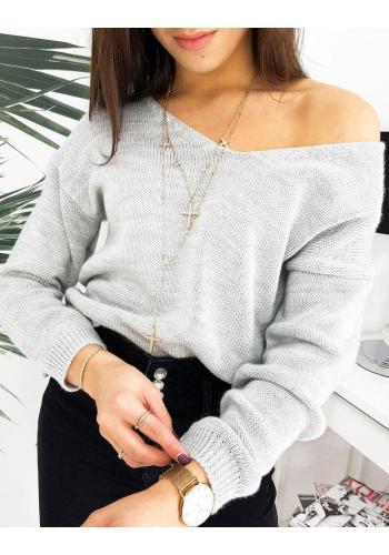 Světle šedý klasický svetr s véčkovým výstřihem pro dámy