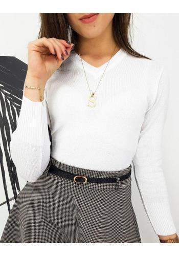Klasický dámský svetr bílé barvy s véčkovým výstřihem