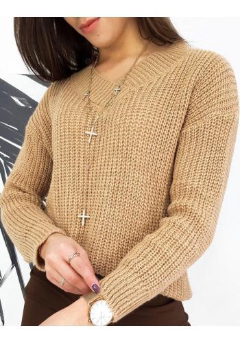 Módní dámský svetr hnědé barvy s véčkovým výstřihem