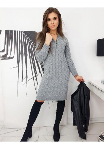 Šedé pletené šaty se zapínaným výstřihem pro dámy