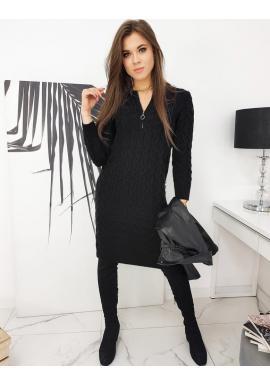 Dámské pletené šaty se zapínaným výstřihem v černé barvě