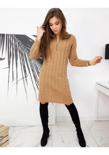 Pletené dámské šaty hnědé barvy se zapínaným výstřihem