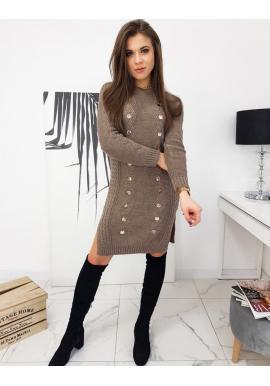 Dámské pletené šaty s ozdobnými knoflíky v hnědé barvě