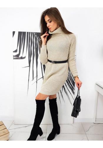 Dámské pletené šaty s rolákem v béžové barvě