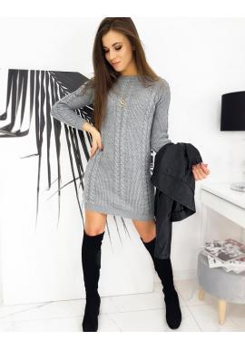 Světle šedé svetrové šaty s copem pro dámy
