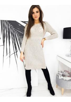 Dámské svetrové šaty s květovanou ozdobou v béžové barvě