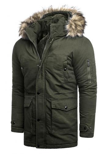 Kaki zimní bunda s delším střihem pro pány
