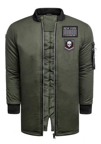 Dlouhá pánská bunda khaki barvy na zimu