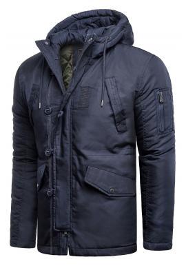 Modrá zimní bunda s kapucí pro pány