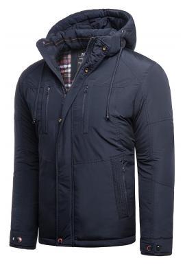 Zimní pánské bundy tmavě modré barvy s kapucí