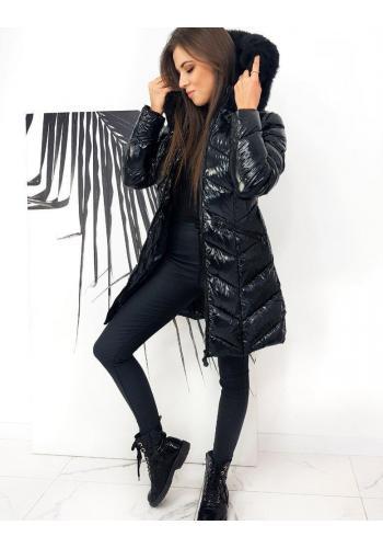 Prošívaná dámská bunda černé barvy na zimu ve slevě