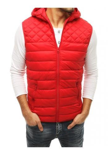 Červená prošívaná vesta s kapucí pro pány