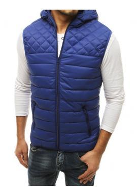 Pánské prošívané vesty s kapucí v modré barvě