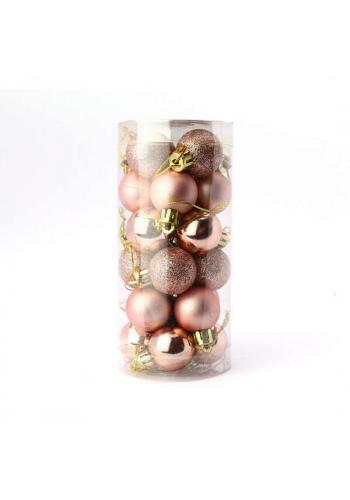 Sada 24 růžovo-zlatých vánočních koulí o průměru 3 cm