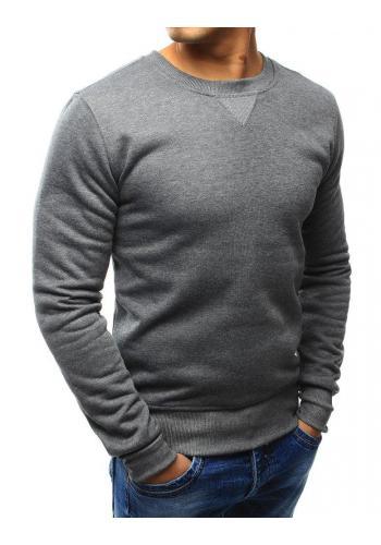 Klasická pánská mikina tmavě šedé barvy bez kapuce