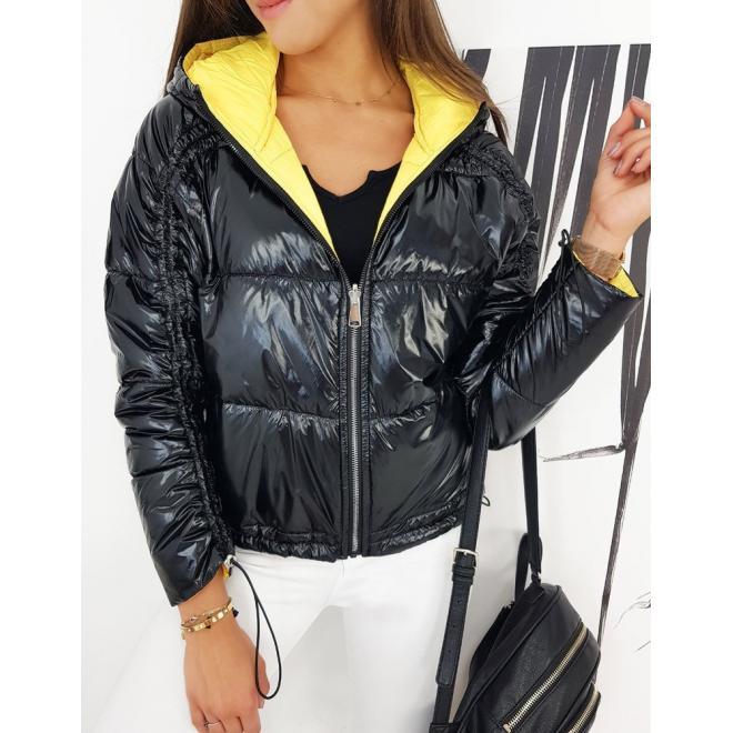 Oboustranná dámská bunda černé barvy s nařasením