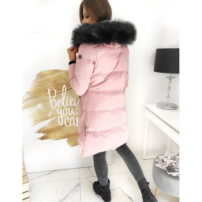 Dlouhá dámská bunda růžové barvy s prošíváním