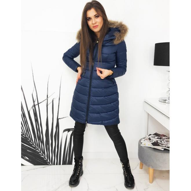 Prošívaná dámská bunda tmavě modré barvy na zimu