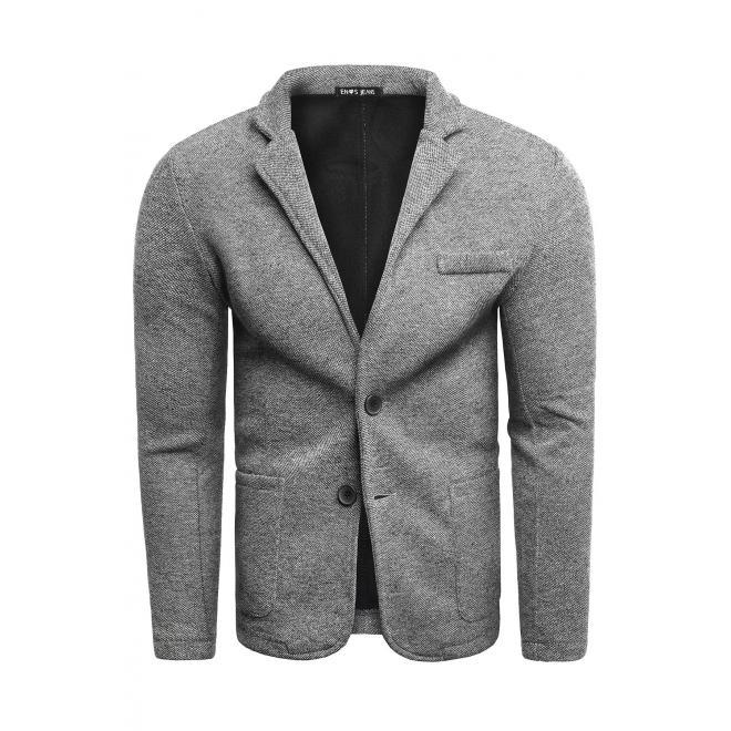 Pánské neformální sako s knoflíky v šedé barvě