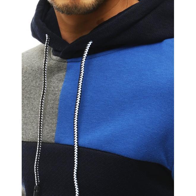 Tmavě modrá klasická mikina s kapucí pro pány