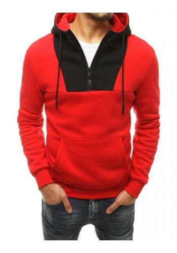 Červená stylová mikina s kontrastní vložkou pro pány