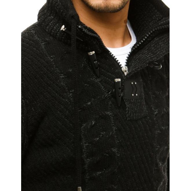 Černý vlněný svetr s vysokým límcem pro pány