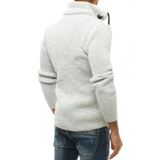Pánský vlněný svetr s vysokým límcem v barvě ecru