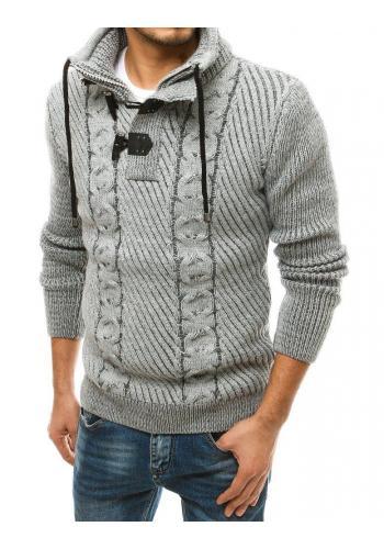 Vlněný pánský svetr šedé barvy s vysokým límcem