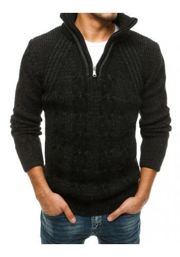 Černý vlněný svetr s vysokým zapínaným límcem pro pány
