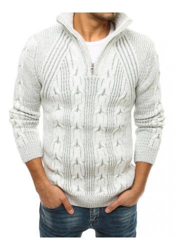 Pánské vlněné svetry s vysokým zapínaným límcem v barvě ecru
