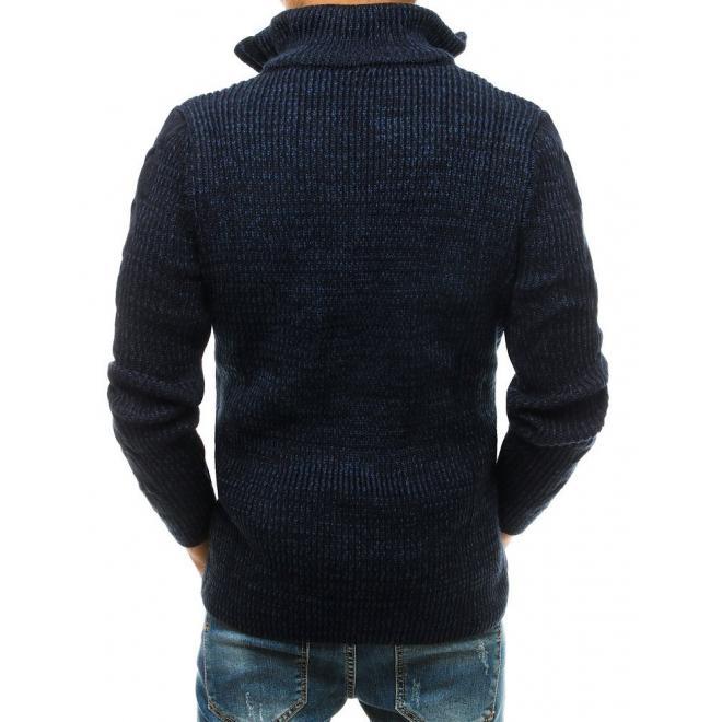 Vlněný pánský svetr tmavě modré barvy s vysokým zapínaným límcem