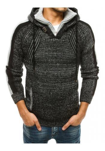 Černý vlněný svetr s kapucí pro pány
