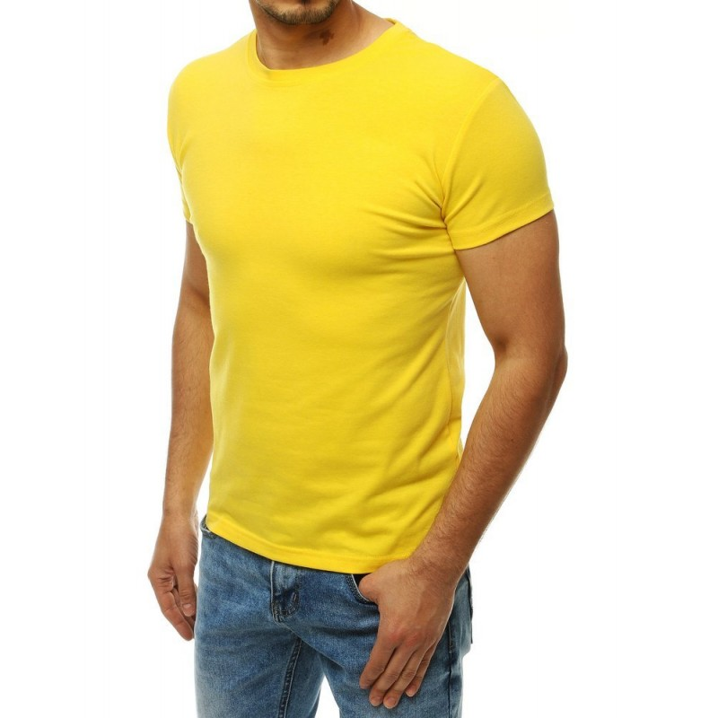Klasické pánské tričko žluté barvy s krátkým rukávem