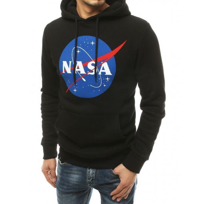 Černá oteplená mikina s potiskem NASA pro pány