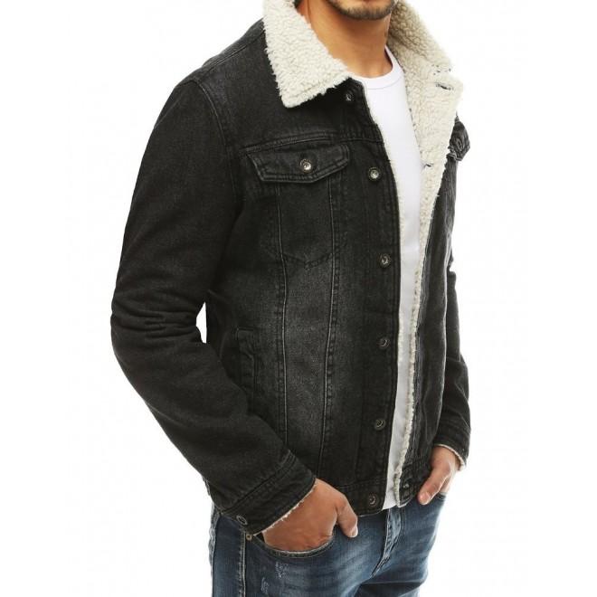 Riflová pánská bunda černé barvy s kožešinou