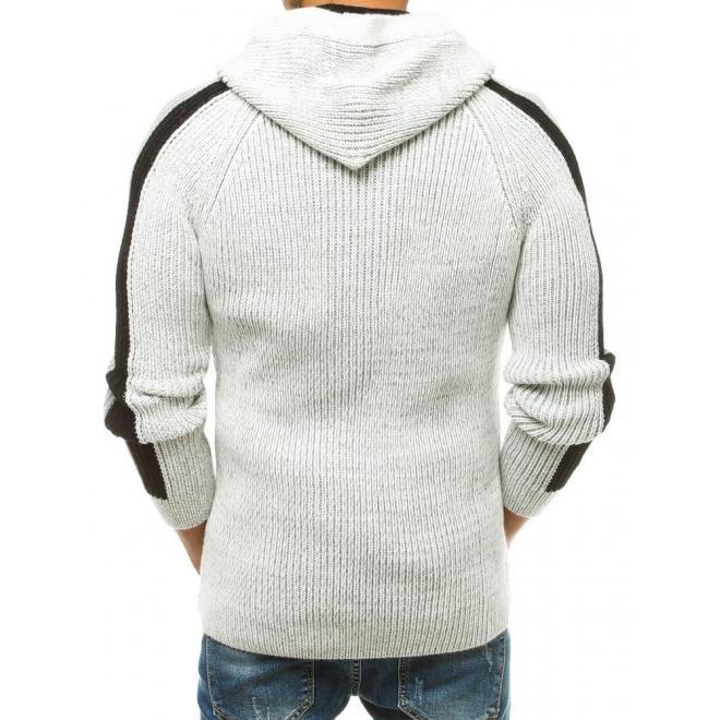 Pánský vlněný svetr s kapucí v barvě ecru