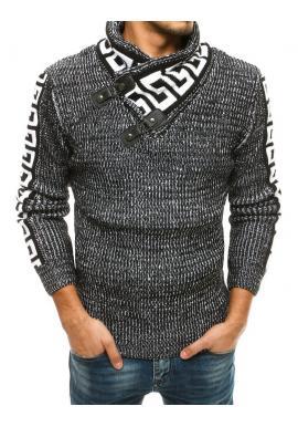 Vlněný pánský svetr černé barvy s vysokým límcem