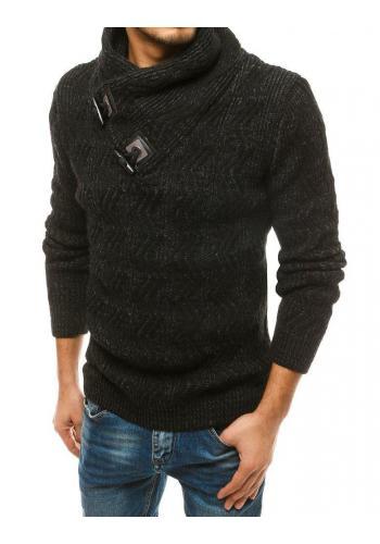 Pánský hrubý svetr s vysokým límcem v černé barvě