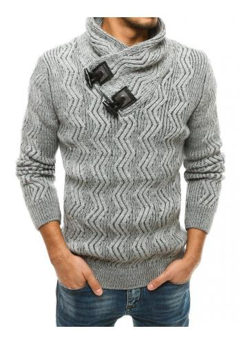 Hrubý pánský svetr šedé barvy s vysokým límcem