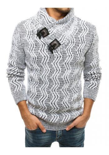 Bílý hrubý svetr s vysokým límcem pro pány